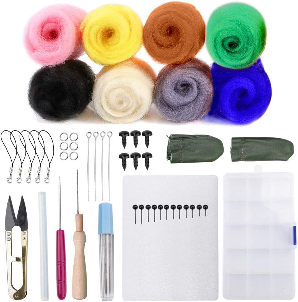 Kit de iniciación de fieltro de aguja,8 colores,juego de hilado de ...