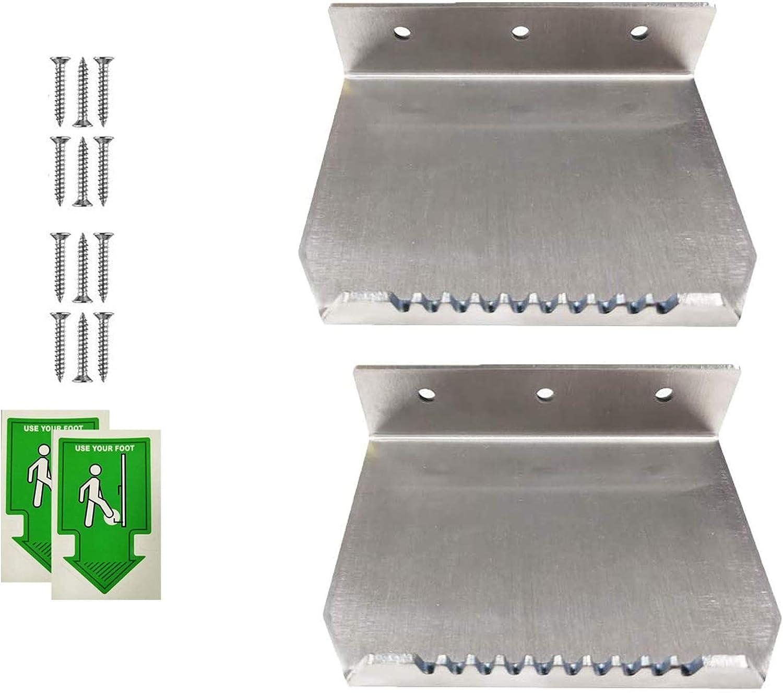 2Pack NO Touch Hands Free Door Opener with Stickers Stainless Steel Foot Operated Door Opener Tool for Bathroom(2 Pack sliver01)