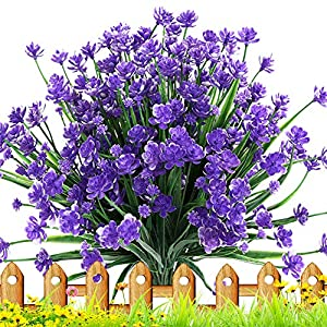 TEMCHY Artificial Daffodils Fake Flowers, 4 Bundles Purple UV Resistant Faux Greenery Foliage Plants Shrubs for Garden, Wedding, Outside Hanging Planter, Farmhouse Indoor Outdoor Decor