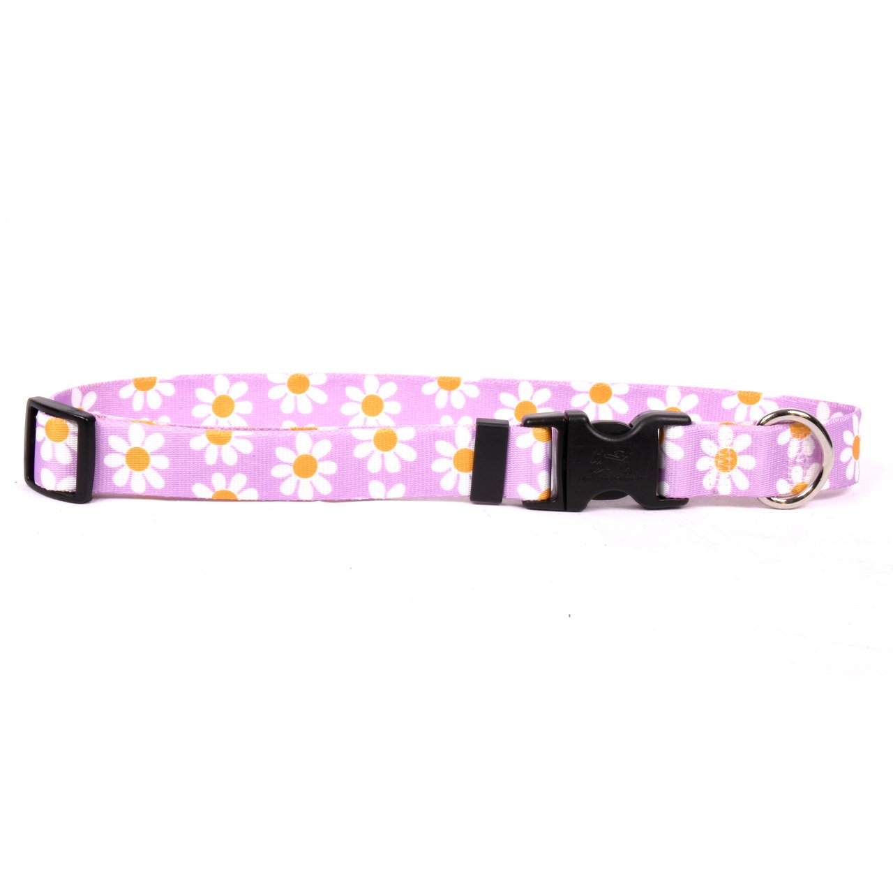 Yellow Dog Design Lavender Daisy Dog Collar 3/4'' Wide and Fits Neck 10 to 14'', Small