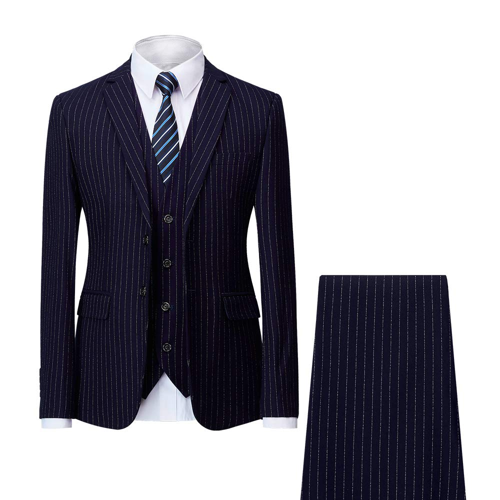 MAGE MALE Men' s Pinstripe 3 Piece Suit Slim Fit Elegant Single Breasted Business Wedding Party Blazer Vest& Pants Set