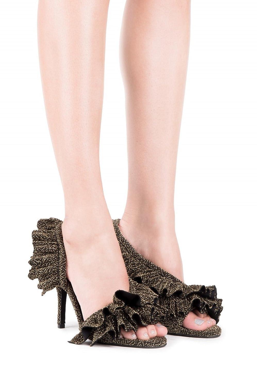 Calliope Gold Lame Mesh Glitter Open Toe Designer Ruffle Pumps