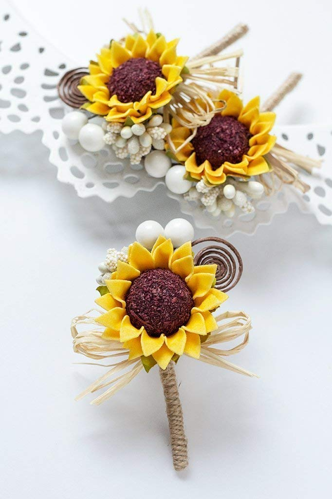3 Sunflower Wedding Boutonnieres, Groom and Groomsmen Rustic Buttonholes, Father of Bride Father of Groom Pins