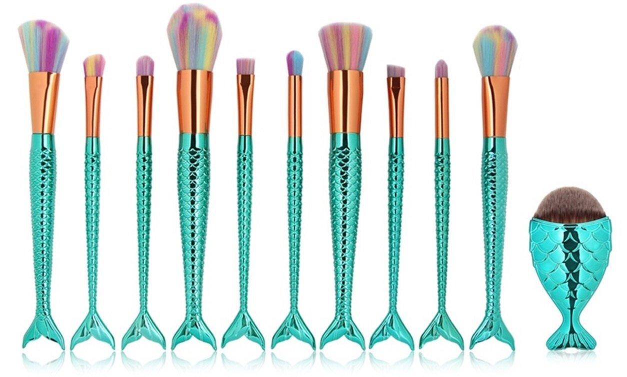 Amazon.com: 11 Piece Mermaid Makeup Brushes Set Powder Blending Eye ...