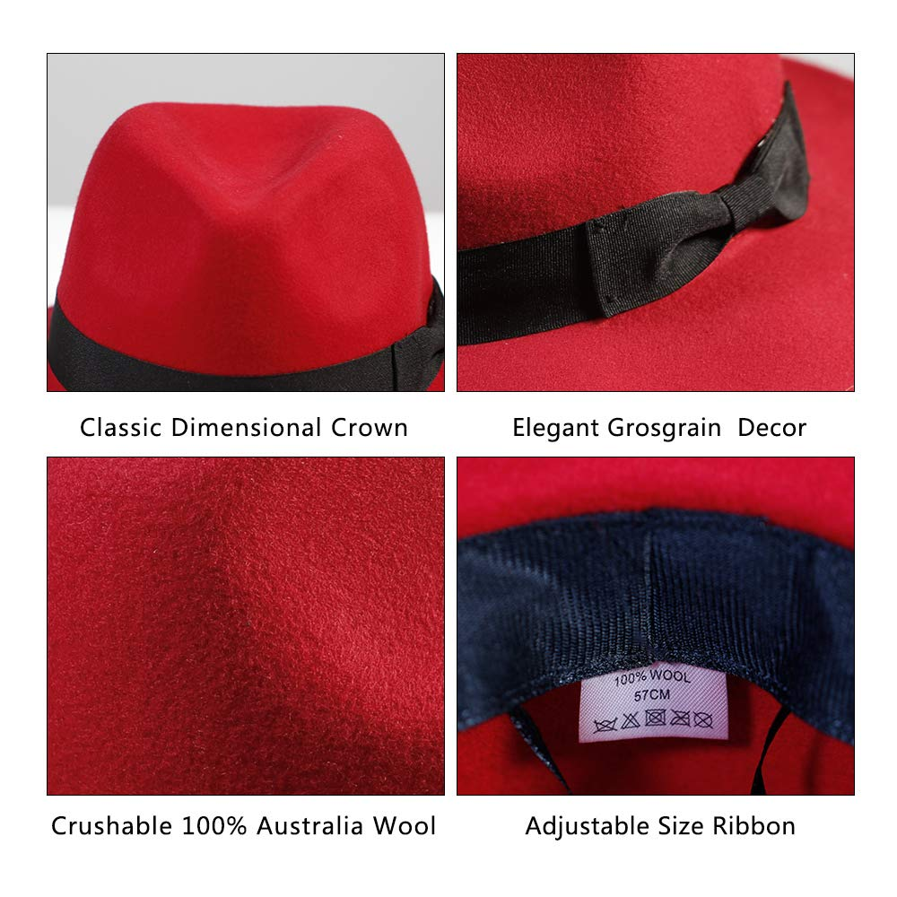 8ad19eb81 Wool Fedora Hat-Women's Felt Floppy Panama Hats Vintage Classic ...