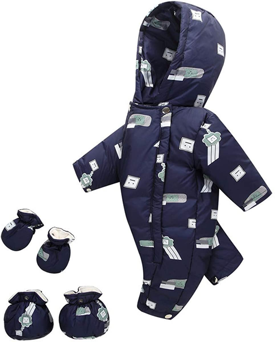 JELEUON 3 pcs Baby Girls Boys One Piece Winter Warm Hooded Zipper Puffer Down Jacket Romer Jumpsuit with Gloves Shoes