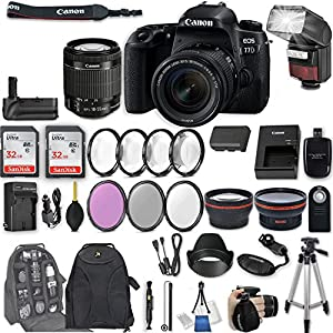 """Canon EOS 77D DSLR Camera with EF-S 18-55mm f/4-5.6 IS STM Lens + 2Pcs 32GB Sandisk SD Memory + Automatic Flash + Battery Grip + Filter & Macro Kits + Backpack + 50"""" Tripod + More"""