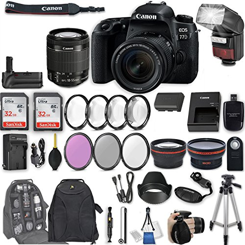 Canon EOS 77D DSLR Camera with EF-S 18-55mm f/4-5.6 IS STM L