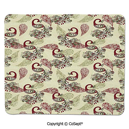 (Mouse Pad,Winter Pattern with Stylized Peacocks and Snowflakes Floral Paisley Ornamental Decorative,for Computer,Laptop,Home,Office & Travel(15.74