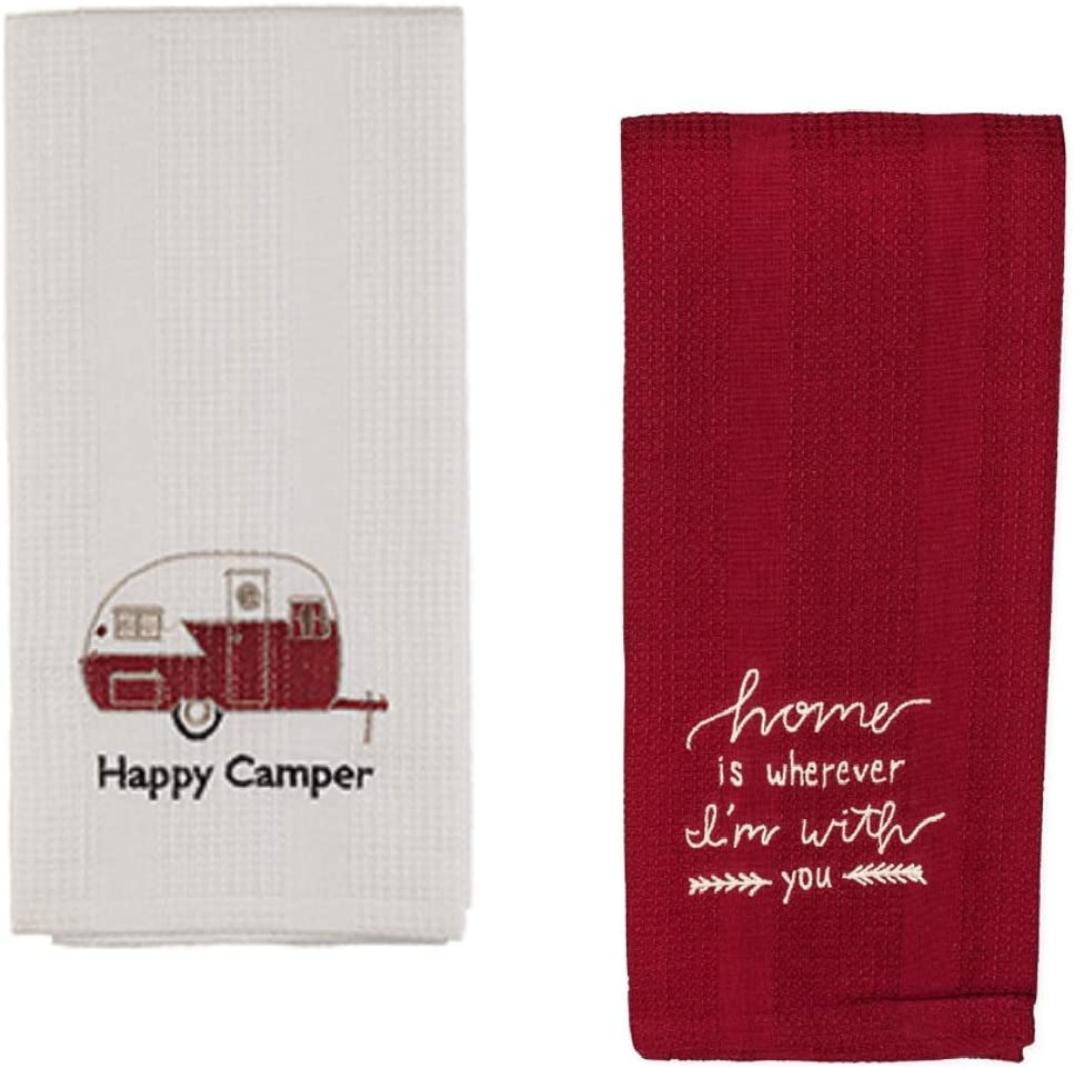 Retro RV Happy Camper Trailer Home is Wherever I'm with You Classic Waffle Weave Embroidered Kitchen Dishtowel Set of 2 Cotton Tea Towels Perfect for Hand and Dish Drying
