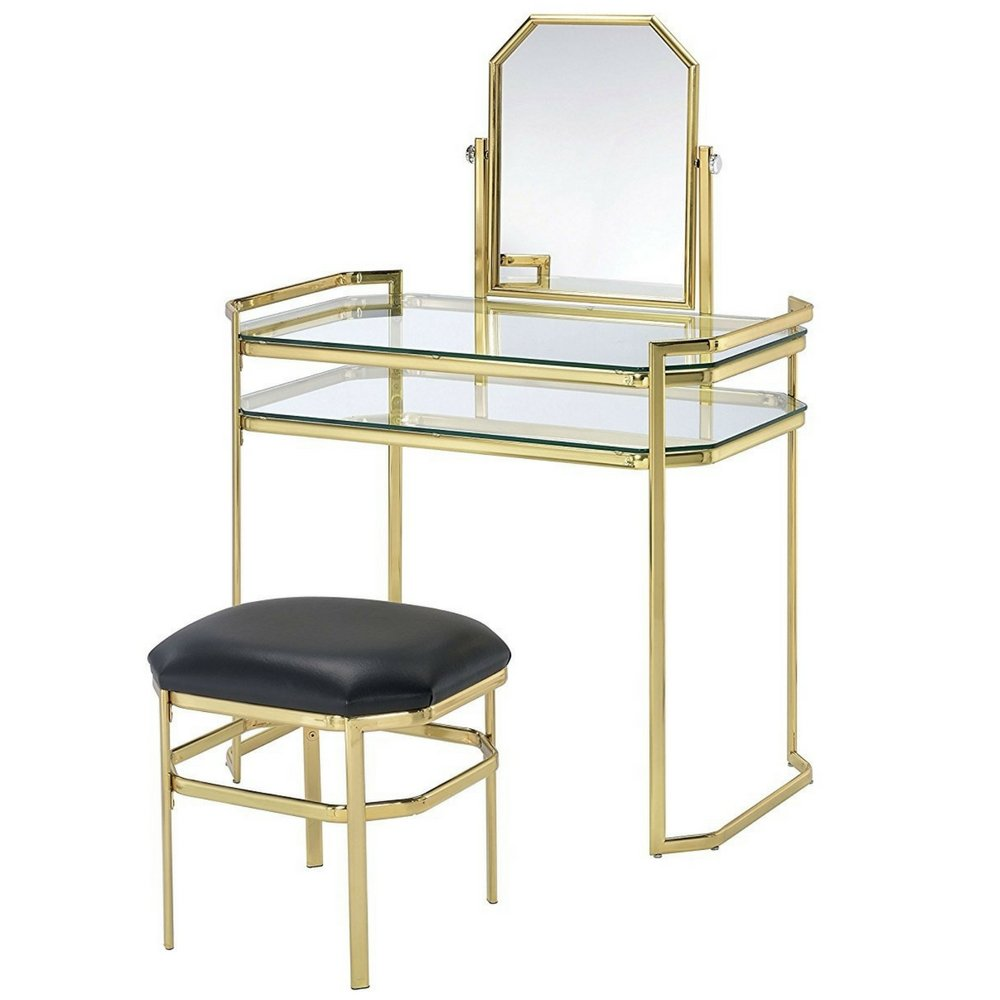 Vanity Makeup Table Set For Women Modern With Adjustable Mirror Comfy Cushioned Stool Bedroom Girls Ladies Glam Vanity Desk Set Cute Contemporary Beauty Cosmetic Mirrored Chic & eBook By NAKSHOP