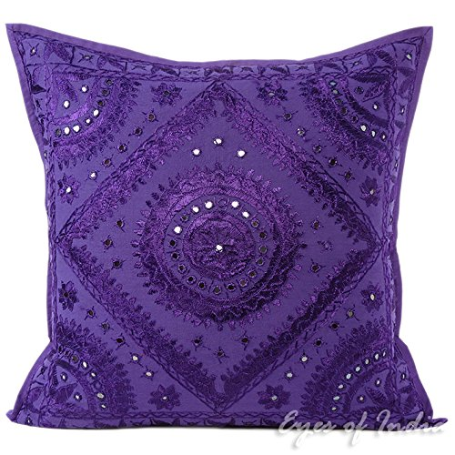 Eyes of India - Lila Espejo Bordado Sofá Decoración Funda Manta Cojín Boho Bohemio Indio - Morado, Morado, 24 X 24 in. (60 X 60 cm)