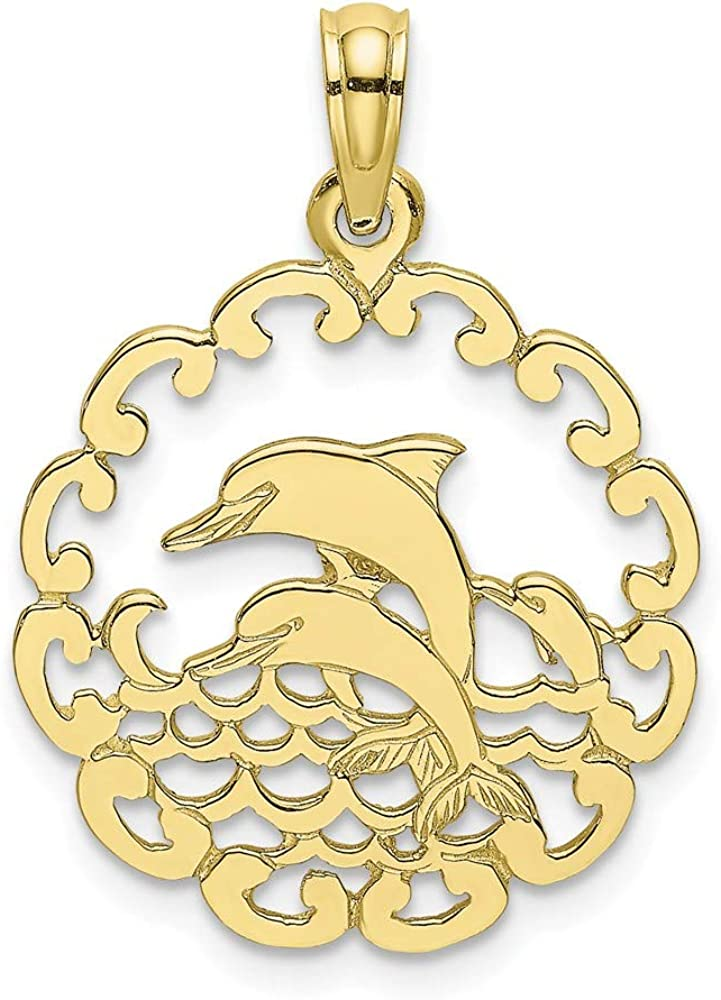 FB Jewels 10K Yellow Gold Cut Out Jumping Dolphins Pendant