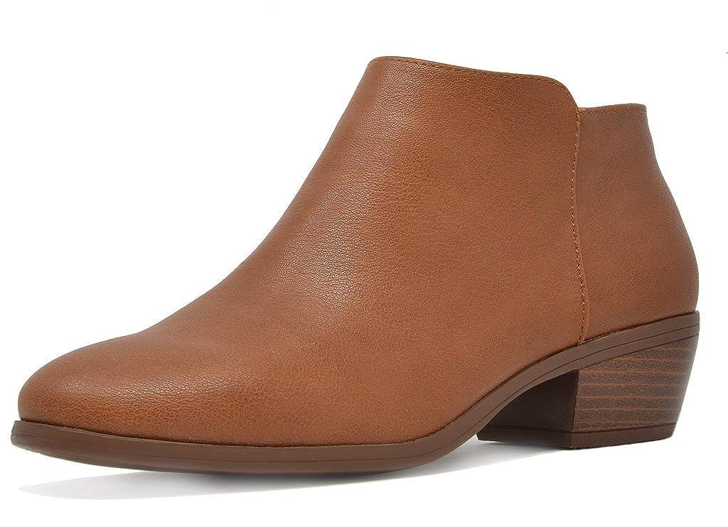 01-TAN PU TOETOS Women's Cowboy Block Heel Side Zipper Ankle Booties