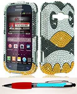 Accessory Factory(TM) Bundle (the item, 2in1 Stylus Point Pen) Samsung M840 GalaxyRing Prevail 2 FULL DIAMOND Penguin Case Cover Protector Stylish Full Diamond Bling Design Snap On Hard Faceplate Shell