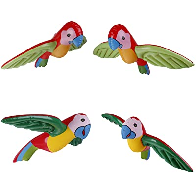4 Pieces Inflatable Flying Parrot Toys Hawaiian Pool Luau Tropical Party Decoration, 2 Colors: Toys & Games