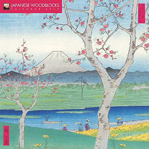 Japanese Woodblocks 2019 12 x 12 Inch Monthly Square Wall Calendar by Flame Tree with Glitter Flocked Cover, Japan Asia Woodblock