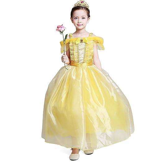 f829e9b27382a loel Girls Princess Belle Costume Party Fancy Dress Up