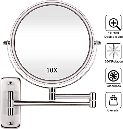 AmnoAmno Two-Sided Swivel Wall Mount Mirror -1x 10x Magnifying Makeup Mirror with 360 Degree Rotation -Extension Polished Chrome Finished Mirror for Bathroom-8 Inch