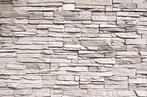 GREAT ART Wallpaper White Stonewall - Wall Decoration Slate Beige Stones 3D Optic Poster Stone Poster Paneling Rock Easy DYI (82.7x55 Inch) (Garden Stone Wallpaper)