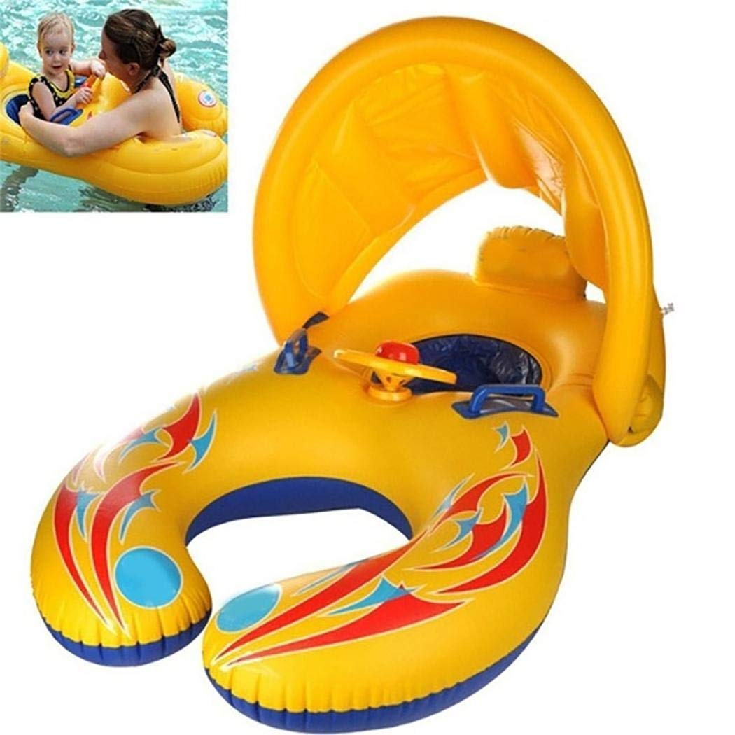 Lome123 Swimming Ring,Mother Baby Swim Floats,Pool Float Adjustable Sunshade Inflatable Baby Swim Ring,Boat Double Seats for 6-36 Months Floating Leisure Float Toy,Outdoor Summer Pool Best Gift by Lome123
