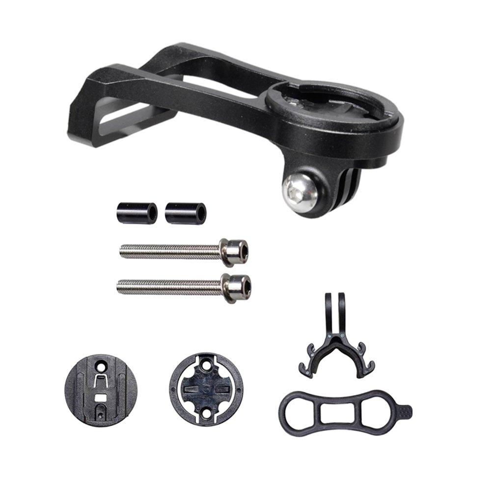 Elemyth Bicycle Computer Camera Extension Mount Holder for Garmin Bryton Cateye GoPro - Aluminum (Black)