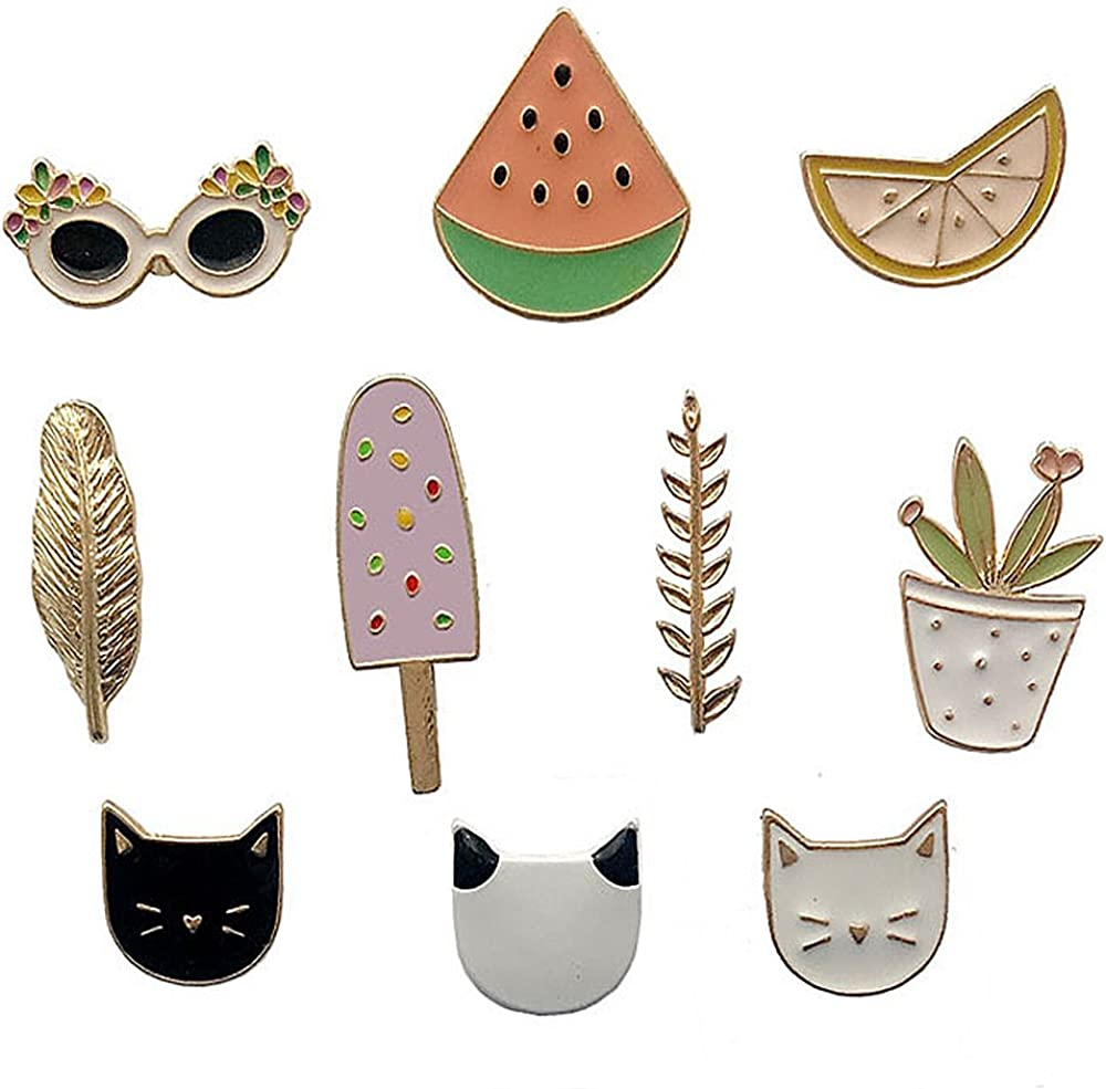 Cute Enamel Lapel Pins Set Cartoon Animal Plant Floral Fruits Foods Brooches Pin Badges for Clothing Bags Backpacks Jackets Hat DIY (Couple Cats Fruits Leaves Set of 10)