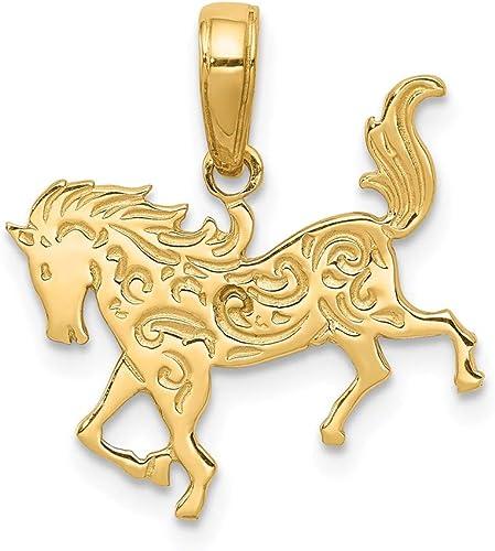14k Yellow Gold Trotting Horse Pendant