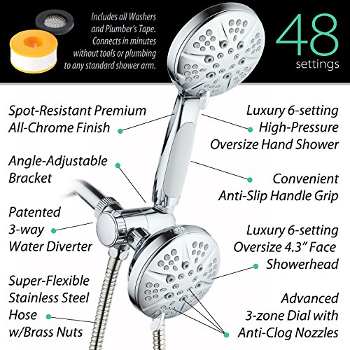 NOTILUS SURROUND-SHOWER(TM) High-Pressure 48-setting Luxury 3-way Shower Head/Handheld Combo - Anti-Slip Grip, Anti-Clog Jets, Heavy-Duty Stainless Steel Hose, All-Chrome Finish, by HotelSpa (Image #2)