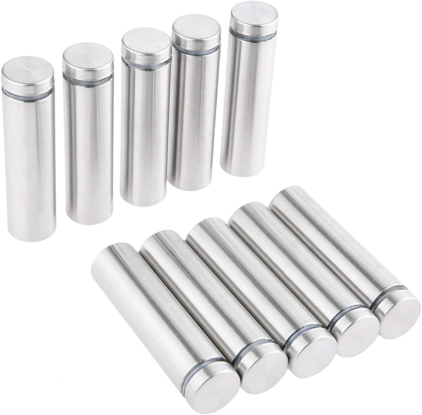10pcs Edelstahl 19x100mm Glasabstandshalter Schraubenn/ägel Werbung Schraube Standoff Pins