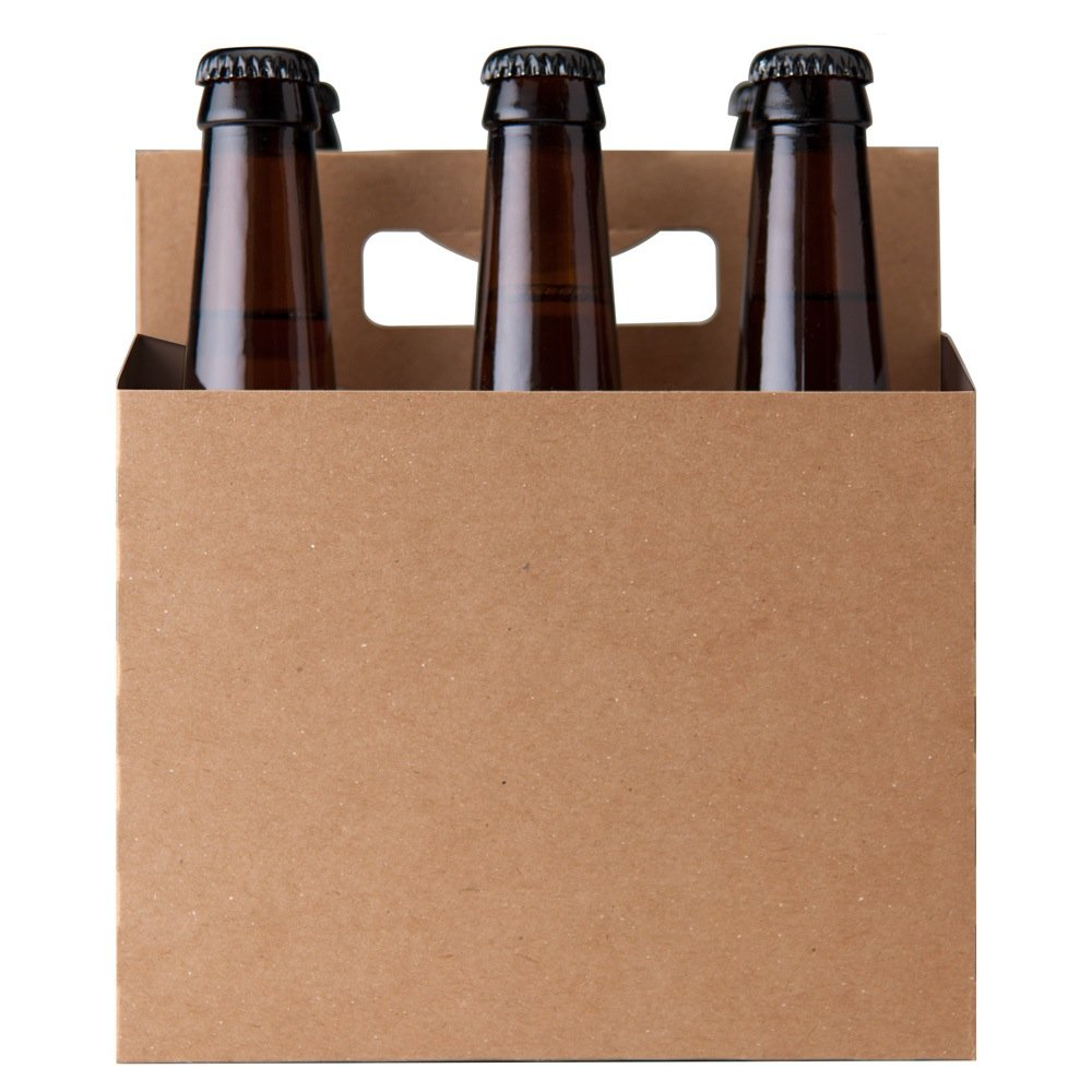 North Mountain Supply 6 Pack 12oz Beer & Soda Bottle Carrier - Pack of 6 - Kraft Brown