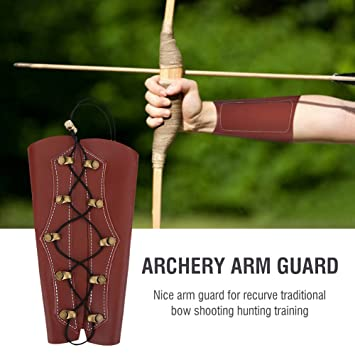 Brown Archery Arm Guard Traditional Cow Leather Bracer for Longbow /& Recurve Bow