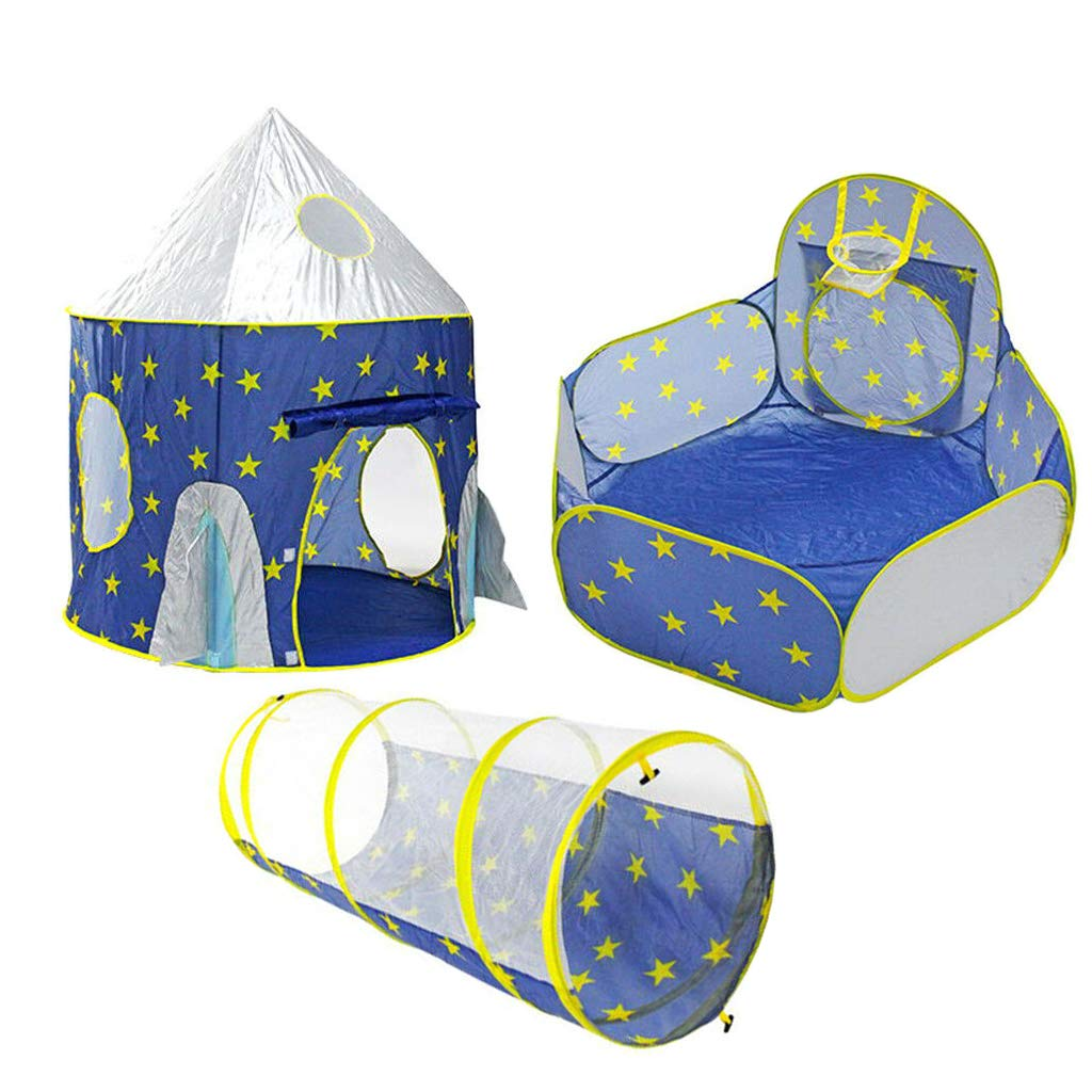 MIFXIN ロケットシップ プレイテント 子供用 プレイハウス 宇宙飛行士 宇宙テント 城の騎士 男の子 女の子 インドア アウトドア ポップアップ ロケットテント 砦 ブルー N33-102-139 B07Q36CJYN Tent Tunnel 3 Pcs