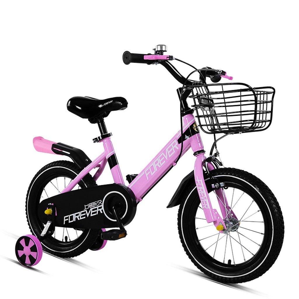 子供用自転車4-8歳の自転車16インチの男の子と女の子の赤ちゃんキャリッジハイカーボンスチールバイク、ピンク/ブラックレッド/オレンジグリーン (Color : Pink) B07CVV5L9K