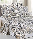 Serenta 7 Piece Printed Microfiber Tradewinds Bedspread Quilts Set, Queen