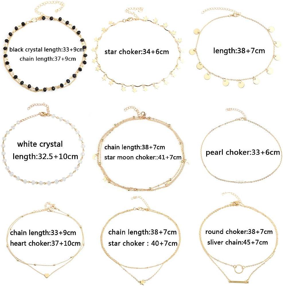 Women Choker Necklace Set Gold Layered Choker Necklace Pendant Statement Dainty Gold Choker Necklaces for Women 14k 9 Pieces Choker Necklace /… /…