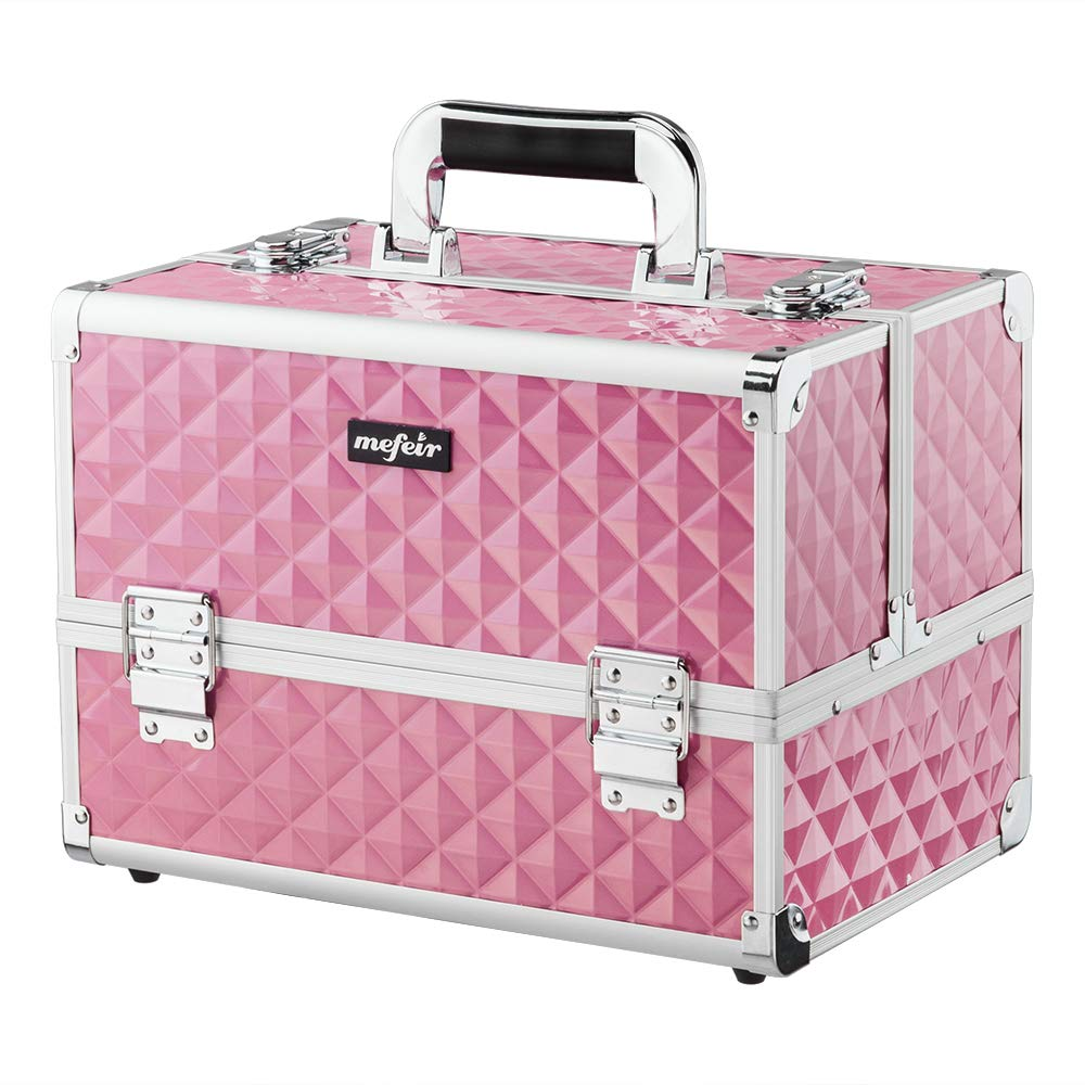 Mefeir Makeup Train Case 12.6''L w/Adjustable Dividers, 4 Trays and 2 Locks, Professional Travel Beauty Cosmetic Trolley Box,Xmas New year Birthday Mother's Day Gift (Pink)