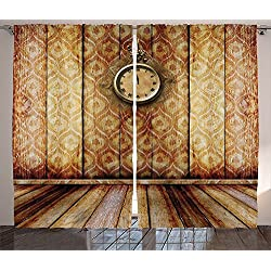 Victorian Decor Curtains Antique Clock on Medieval Style Wall Wooden Floor Classic Architecture Theme Art Living Room Bedroom Decor 2 Panel Set Beige Brown