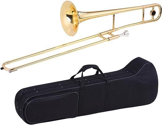 ammoon Trombón Tenor Latón Oro Laca Bb Tono Bemol Instrumento de Viento con el Caso de Cuproníquel Boquilla de Limpieza en Palo: Amazon.es: Instrumentos musicales