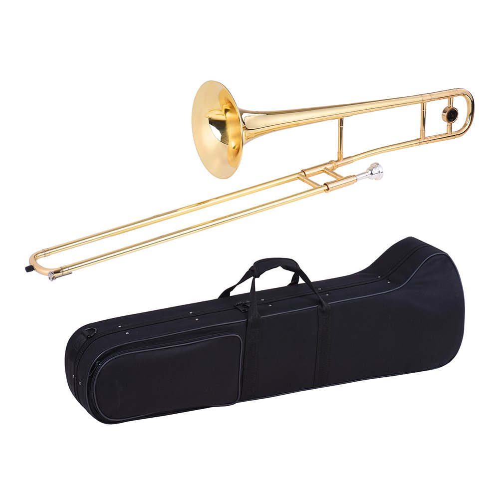 ammoon Tenor Trombone Brass Gold Lacquer Bb Tone B flat Wind Instrument with Cupronickel Mouthpiece Cleaning Stick Case by ammoon (Image #1)