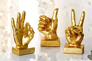 Bellaa 24337 Hand Sculpture Table Décor Statues Thumbs Up Peace OK Set of 3 Gold 3.5X 7 3.5x7 3.5 x 6