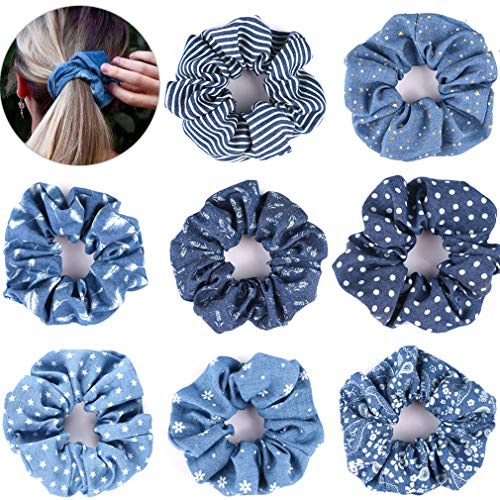 - Hair Scrunchies Denim 90's Ties Elastic Hair Bands Ropes Scrunchy Soft for Ponytails Top Knots Braids and Buns Women Girls Hair Accessories Pack of 8