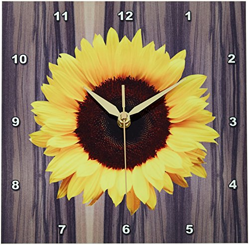 3dRose dpp_181827_1 Wood Image with Sunflower Wall Clock, 10 by 10