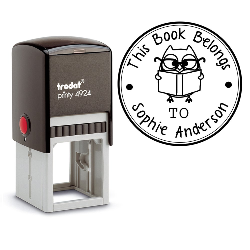 Black Ink, Self Inking Personalized Teacher Stamp This Book Belongs To School Student Owl Reading Book Library Book Stamper Custom Large Round 3 Lines Customized Personal Teacher Appreciation