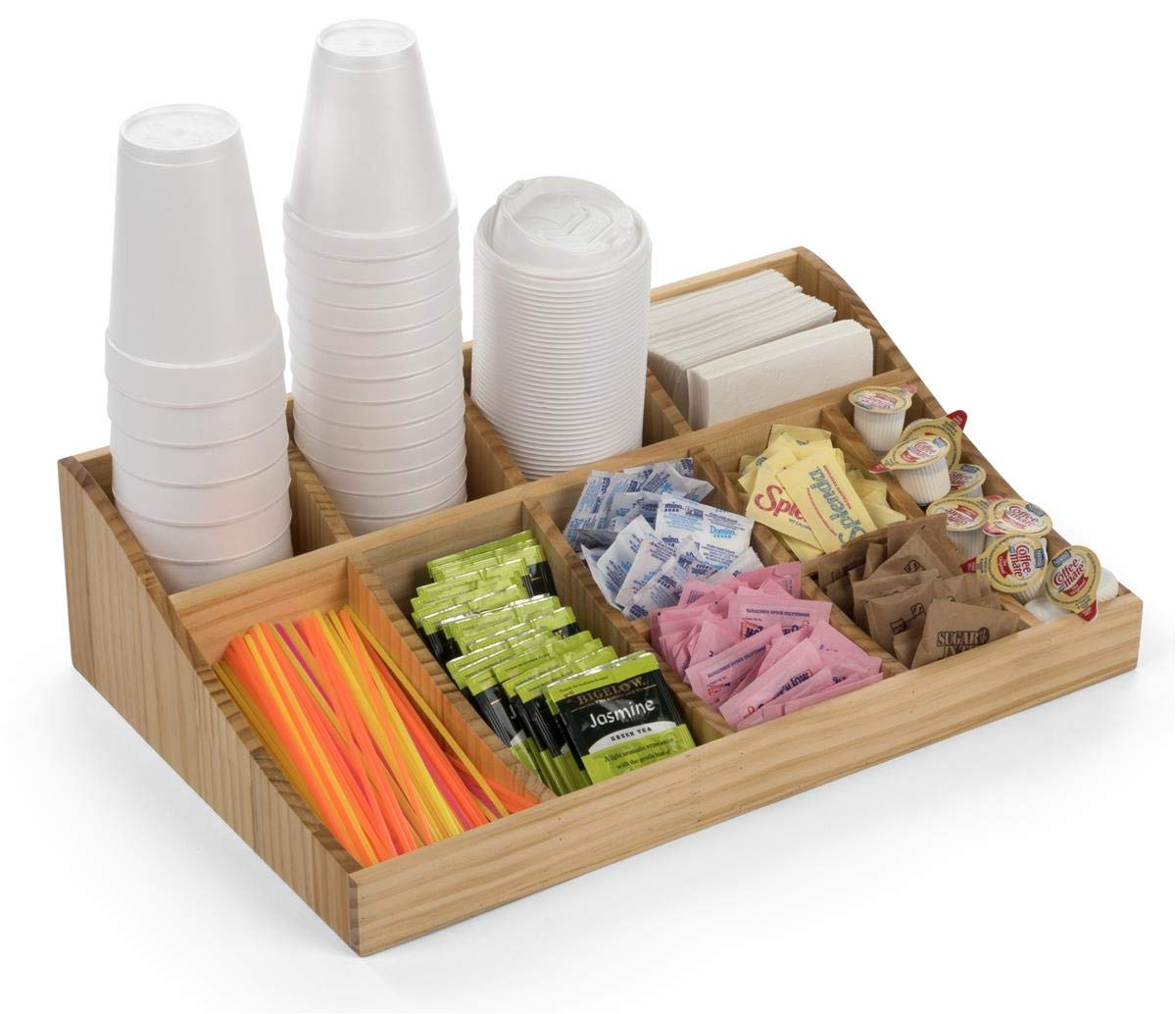 Displays2go Wood Coffee Cup and Sugar Packet Organizers – Pine (FSWDCO11)