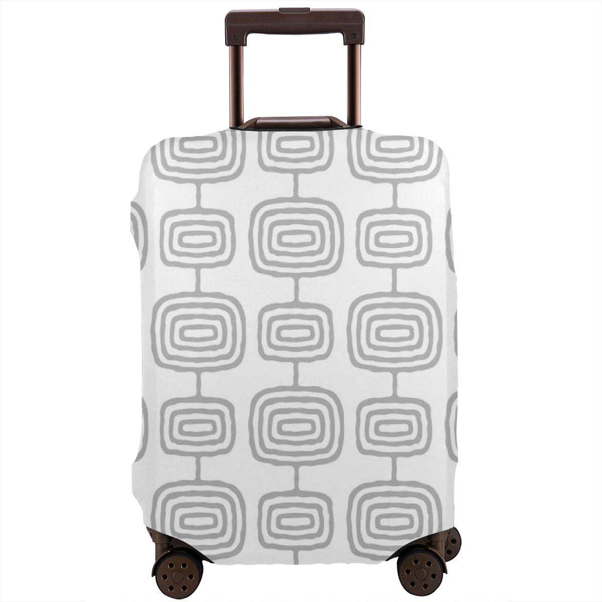 Mid Century - Funda para maleta de viaje con diseño moderno de anillas atómicas grises para maleta de 26 a 28 pulgadas