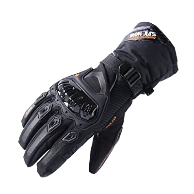 Motorcycle Gloves Winter Warm Touch Screen Waterproof Windproof Protective clothing (Black, XL): Automotive