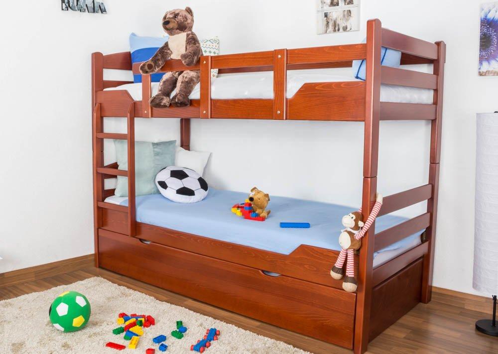 Stockbett mit Bettkasten Easy Sleep K3/h inkl. Liegeplatz und 2 Abdeckblenden, 90 x 200 cm Buche Vollholz massiv Kirschfarben, teilbar