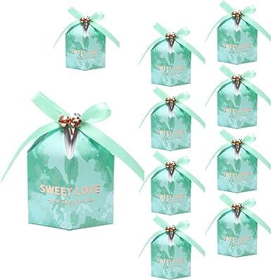 Nikgic 10pc Menta Campana verde Favor de la boda Caja de regalo Caja de dulces con campana para fiesta temática Fiesta de cumpleaños Boda Regalo nupcial Ceremonia de graduación Decoración: Amazon.es: Alimentación