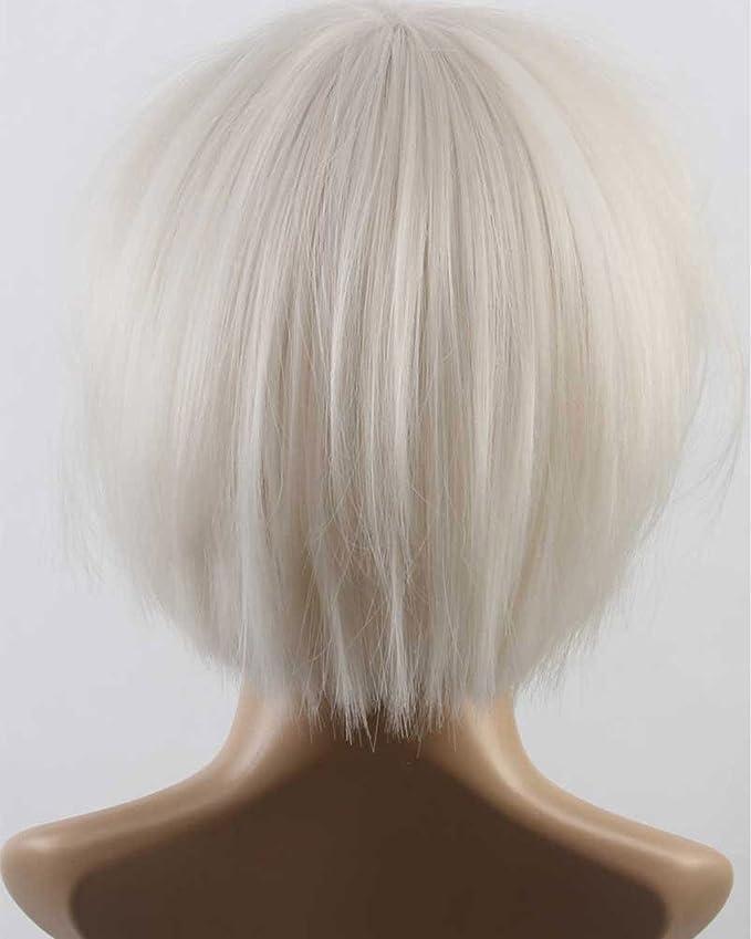 Elegante peluca melena corta, recta, color blanco de Falamka: Amazon.es: Belleza